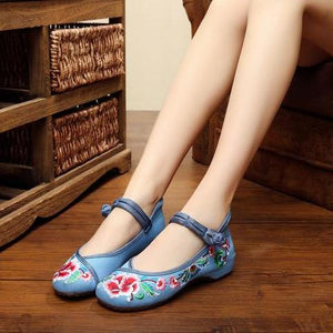 WS203 Old Peking Embroidery Flat Shoes