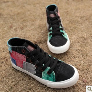 WS114 Patchwork High Top Canvas Shoes