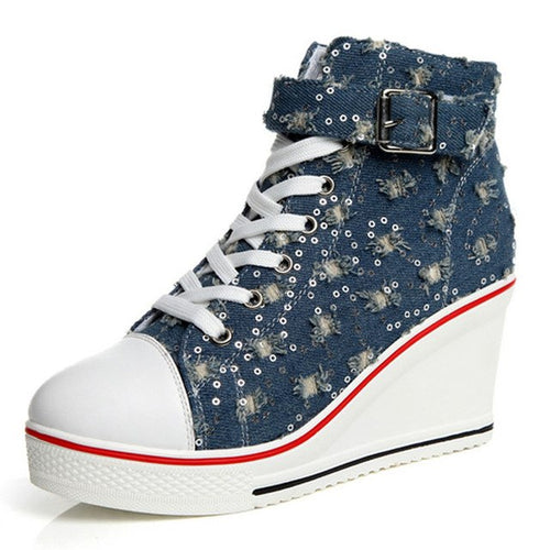 WS447 Summer 8cm Wedges  Denim Canvas Shoes Size 35-41