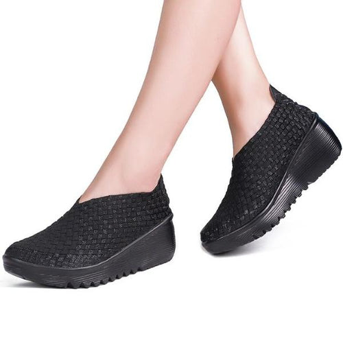 WS77 Handmade Elastic Woven Slip On Platform Wedges Shoes