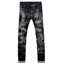 Load image into Gallery viewer, MD78 Dragon Print Elastic Jeans