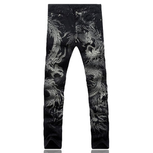 MD78 Dragon Print Elastic Jeans