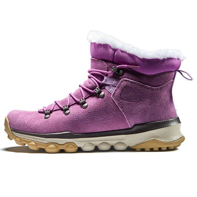 HS06 Women Waterproof Suede Leather Warm Hiking Shoes with Fur Liner