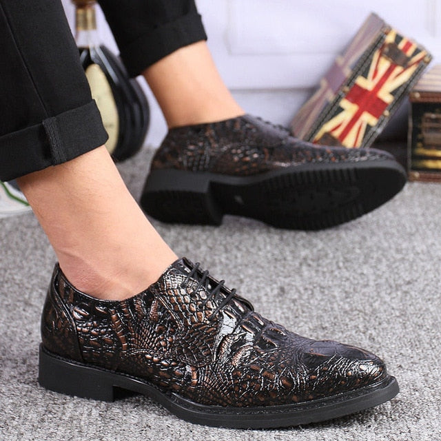 LS63 Business Crocodile Leather Shoes