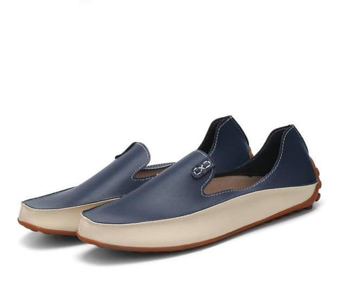LS52 Casual Flats Genuine Leather Soft Moccasins Plus Size 36-47
