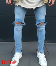 Load image into Gallery viewer, MD52A Zipper Cuff Knee Skinny Ripped Denim Pants