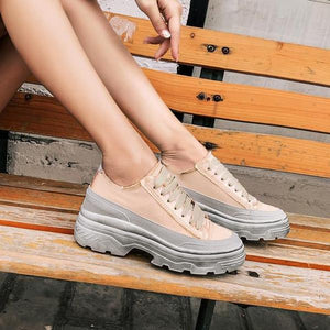 WSS32 Casual Silk Brand Design Wedge Dirty Sneakers