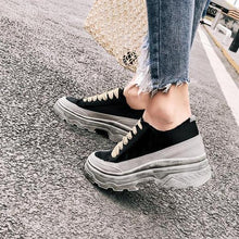 Load image into Gallery viewer, WSS32 Casual Silk Brand Design Wedge Dirty Sneakers