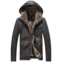Load image into Gallery viewer, MJ26 Winter Hoody Faux Leather Jacket