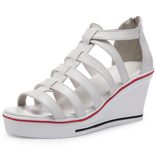 WS446 Summer 7cm Wedges Open Toe Thick Heel PU Leather Sandals Size 35-42