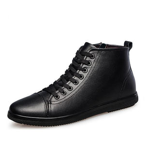 MS77  Men Boots Genuine Leather Ankle Boots Plus Size 37-47