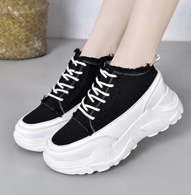 WS33 Thick Sole Ladies Chunky Shoes