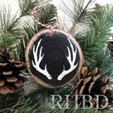 Antlers Christmas Ornament | Black and White Wood Slice Ornament
