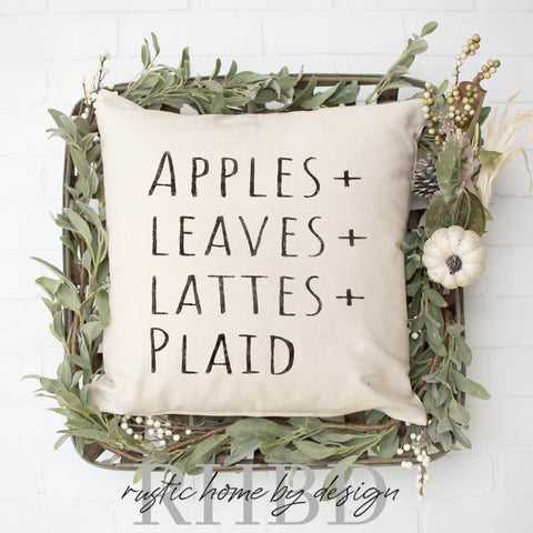 Apples + Leaves + Lattes + Plaid Modern Fall Farmhouse Pillow Cover
