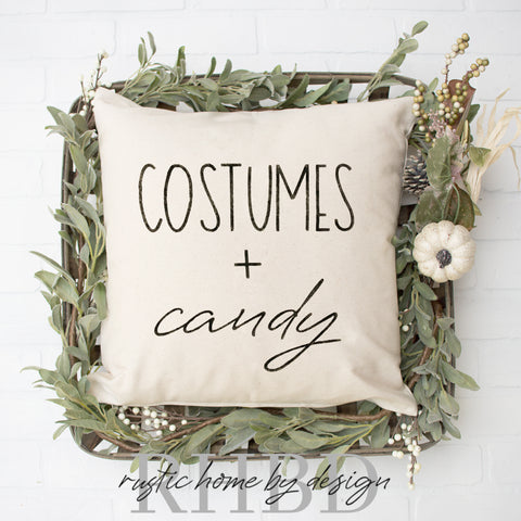 Costumes + Candy Modern Fall Halloween Farmhouse Pillow Cover