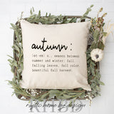 Definition of Autumn Modern Fall Farmhouse Pillow Cover