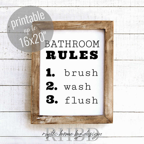 Bathroom Rules | Modern Farmhouse Bathroom Print | Instant Download Print | Printable Farmhouse Art