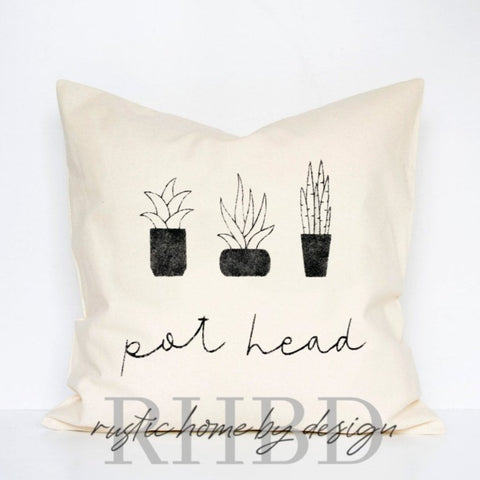 Pot Head Plant Lover Modern Farmhouse Pillow Cover