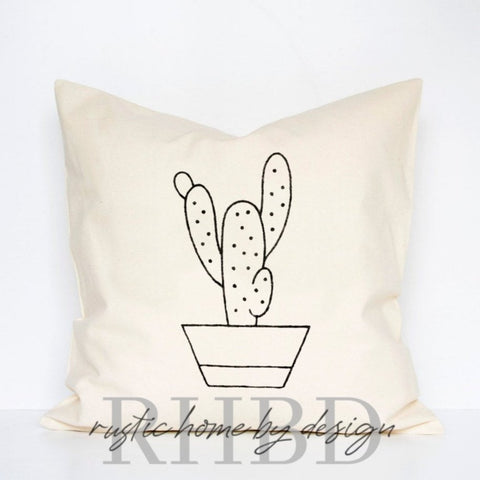 Potted Cactus Modern Farmhouse Pillow Cover