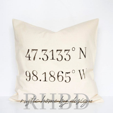 Personalized GPS Coordinates Modern Farmhouse Pillow Cover