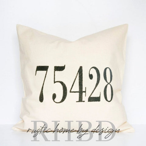 Custom Zip Code / Area Code Modern Farmhouse Pillow Cover