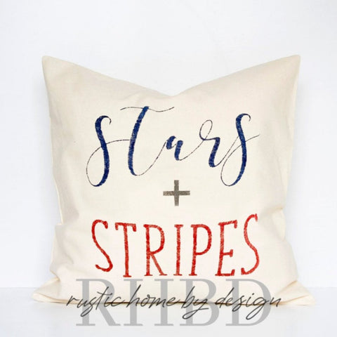 Stars + Stripes USA Patriotic Modern Farmhouse Pillow Cover