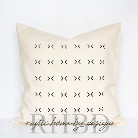 Mud Cloth Inspired Mini X's Modern Farmhouse Pillow Cover