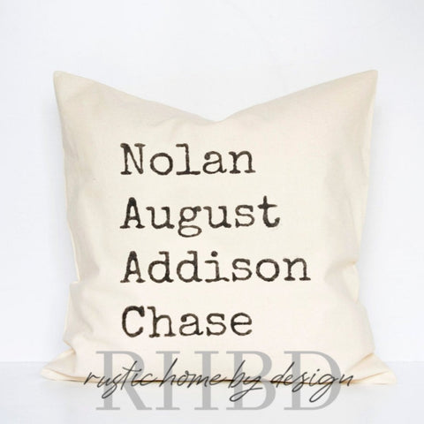 Personalized Names Typewriter Font Modern Farmhouse Pillow Cover