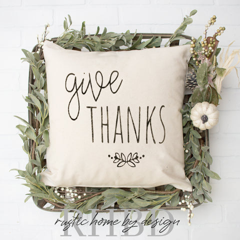 Give Thanks Floral Sprig Modern Fall Farmhouse Pillow Cover
