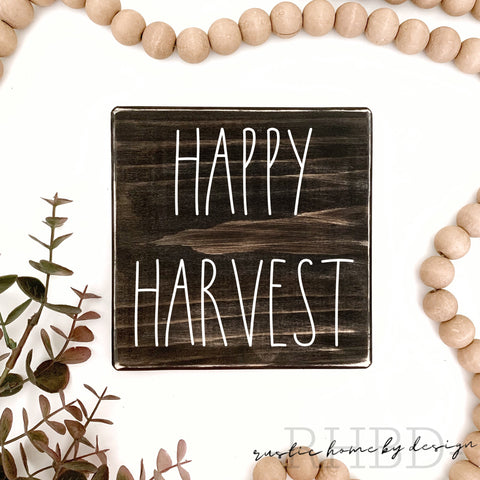 Happy Harvest | Rae Dunn Inspired | Fall Tiered Tray Sign | Thanksgiving Mini Sign