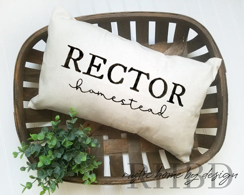 LUMBAR Custom Last Name Homestead Modern Farmhouse Pillow Cover