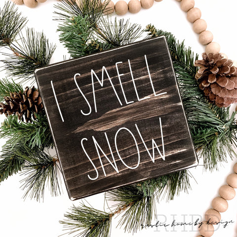 I Smell Snow | Rae Dunn Inspired | Winter Tiered Tray Sign | Christmas Mini Sign