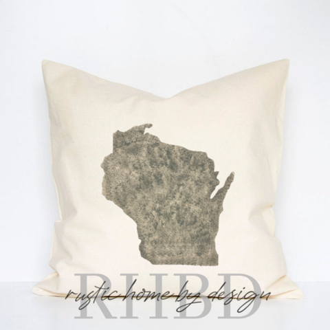 Custom State Silhouette Modern Farmhouse Pillow Cover