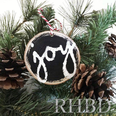 Joy script Christmas Ornament | Black and White Wood Slice Ornament