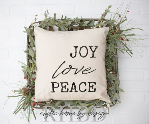 Joy Love Peace Christmas Holiday Modern Farmhouse Pillow Cover