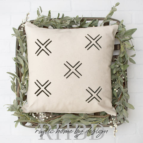 Mud cloth inspired X's Modern Farmhouse Pillow Cover