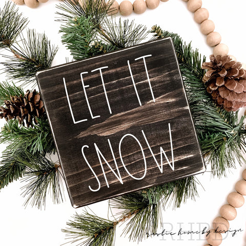 Let It Snow | Rae Dunn Inspired | Winter Tiered Tray Sign | Christmas Mini Sign