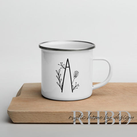 Initial Letter A Enamel Camp Style Mug