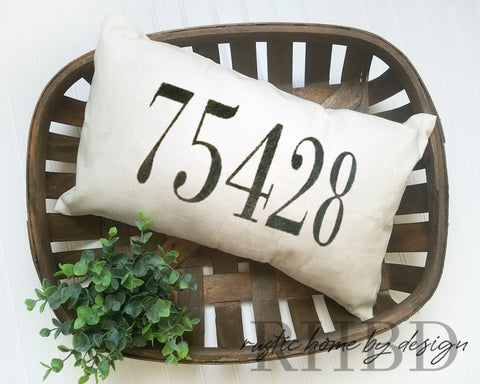 LUMBAR Custom Zip Code Modern Farmhouse Pillow Cover