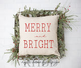 Merry and Bright Christmas Modern Farmhouse Pillow Cover