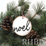 Noel Script Christmas Ornament | Black and White Wood Slice Ornament