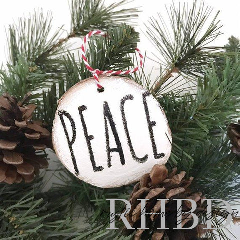 PEACE Rae Dunn Inspired Rustic Christmas Ornament | Black and White Wood Slice Ornament