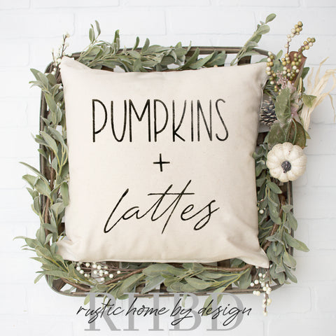Pumpkins + Lattes Modern Fall Farmhouse Pillow Cover