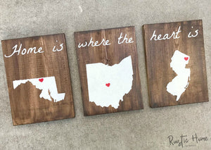 Home Is Where The Heart Is | Rustic Wood Signs | Personalized Signs |  Set of 3 Signs