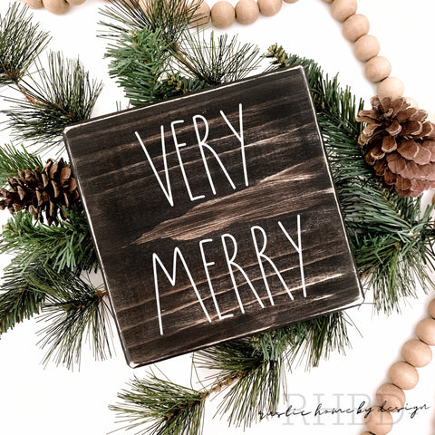 Very Merry | Rae Dunn Inspired | Tiered Tray Sign | Christmas Mini Sign