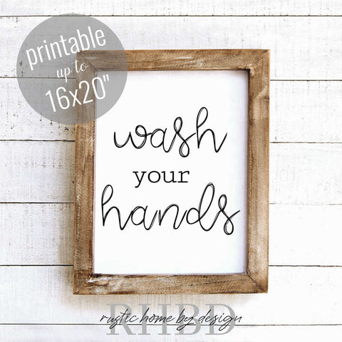 Wash Your Hands | Modern Farmhouse Bathroom Print | Instant Download Print | Printable Farmhouse Art