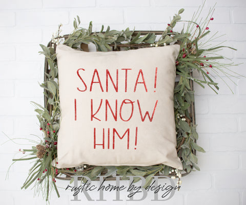 Santa! I Know Him! Christmas 'Elf' Inspired Modern Farmhouse Pillow Cover