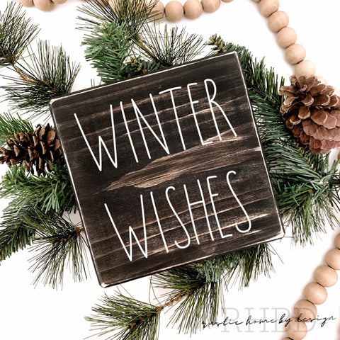 Winter Wishes | Rae Dunn Inspired | Tiered Tray Sign | Christmas Mini Sign