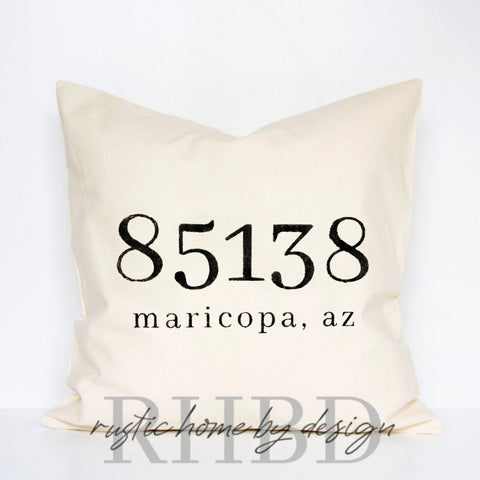 Custom Zip Code City State Modern Farmhouse Pillow Cover
