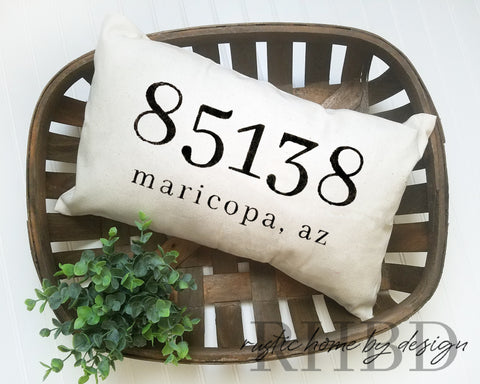 LUMBAR Custom Zip Code City State Modern Farmhouse Pillow Cover